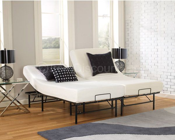 Adjustable Metal Bed Frame Split Posture Incline Platform King Queen