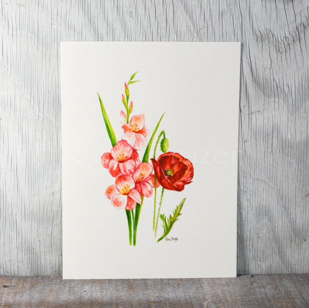 Gladiolus and poppy august birthday flower original watercolor gladiolus and poppy august birthday flower original watercolor painting birth month flower izmirmasajfo