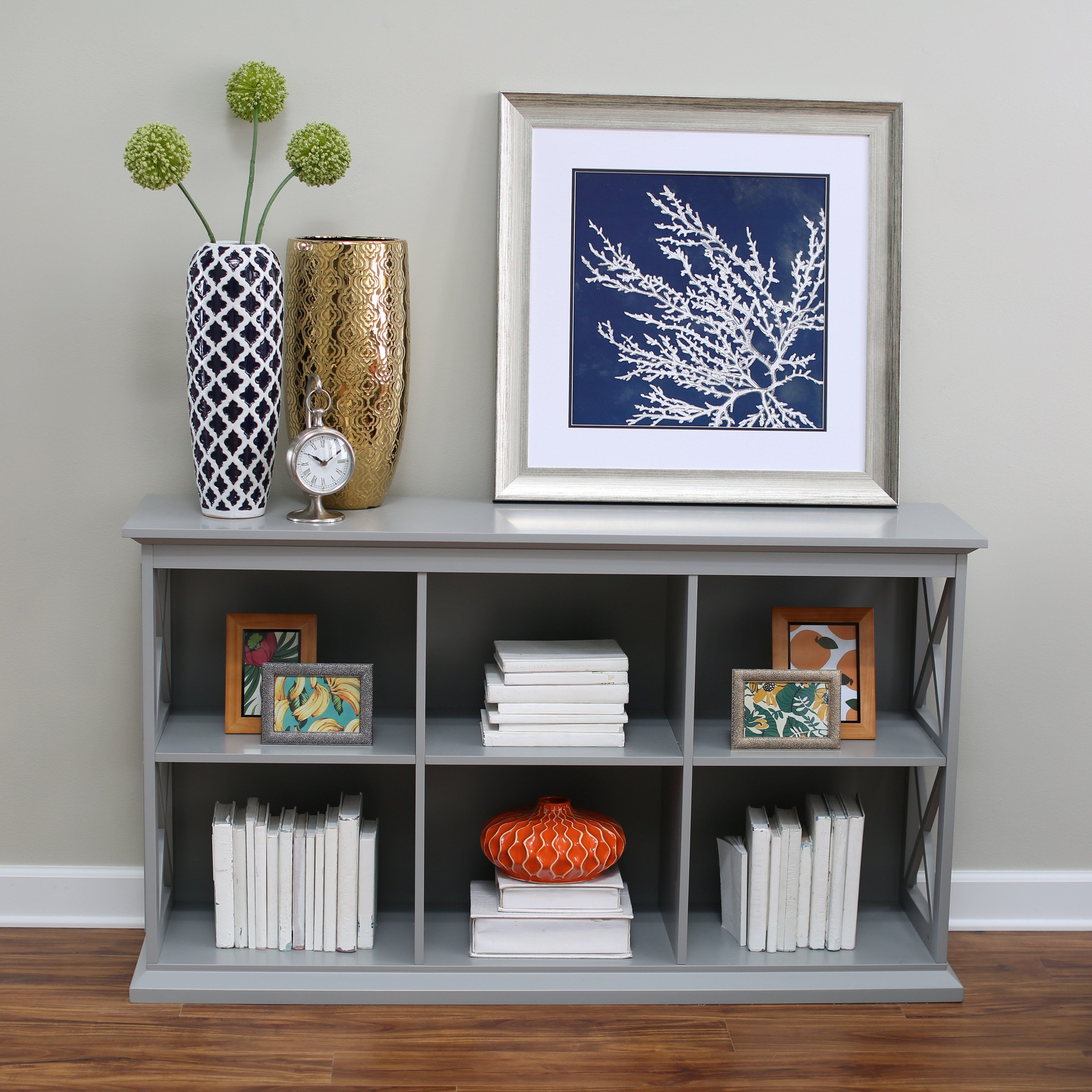 Belham Living Hampton TV Stand Bookcase Gray A Hayneedle