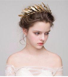 Discount Fairy Crown Headpiece Gold Leaves headband Wedding Headpiece Handmade…