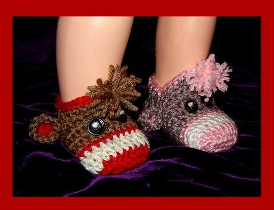 Crochet monkey slippers - made for baby feet, but could easily ...