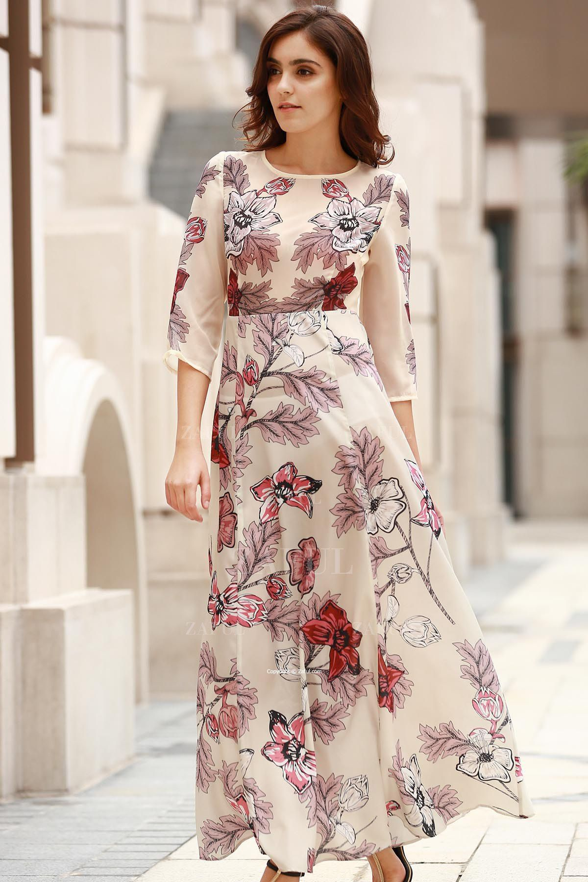 3 4 Sleeve Floral Print Long Dress Off White Long Dress Floral Print Dress Long Printed Long Dresses [ 1800 x 1200 Pixel ]