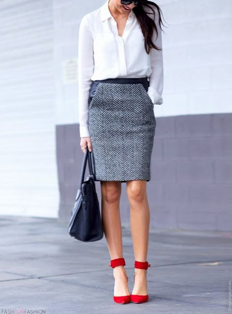 Classic look with pop of colour.
