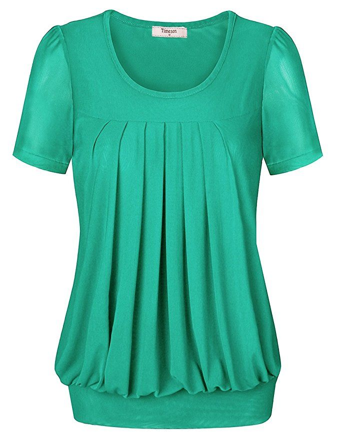 df0e297052400 Timeson Women s Short Sleeve Scoop Neck Pleated Front Fitted Blouse Top at Amazon  Women s Clothing store