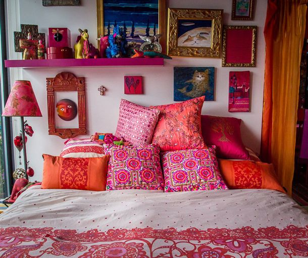Bohemian Red Pink Bedroom. Colour Splash..