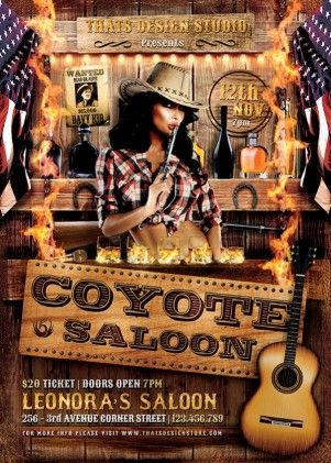 Coyote Bar Flyer Template  Flyer Templates    Flyer