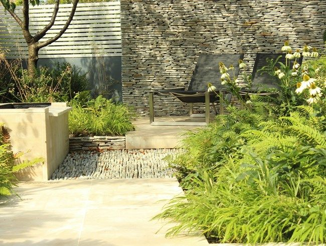 Dryopteris Wallichiana, Hakonechloa Macra, Stone Pathway Daniel Shea  Contemporary Garden Design Norfolk, UK Good Looking