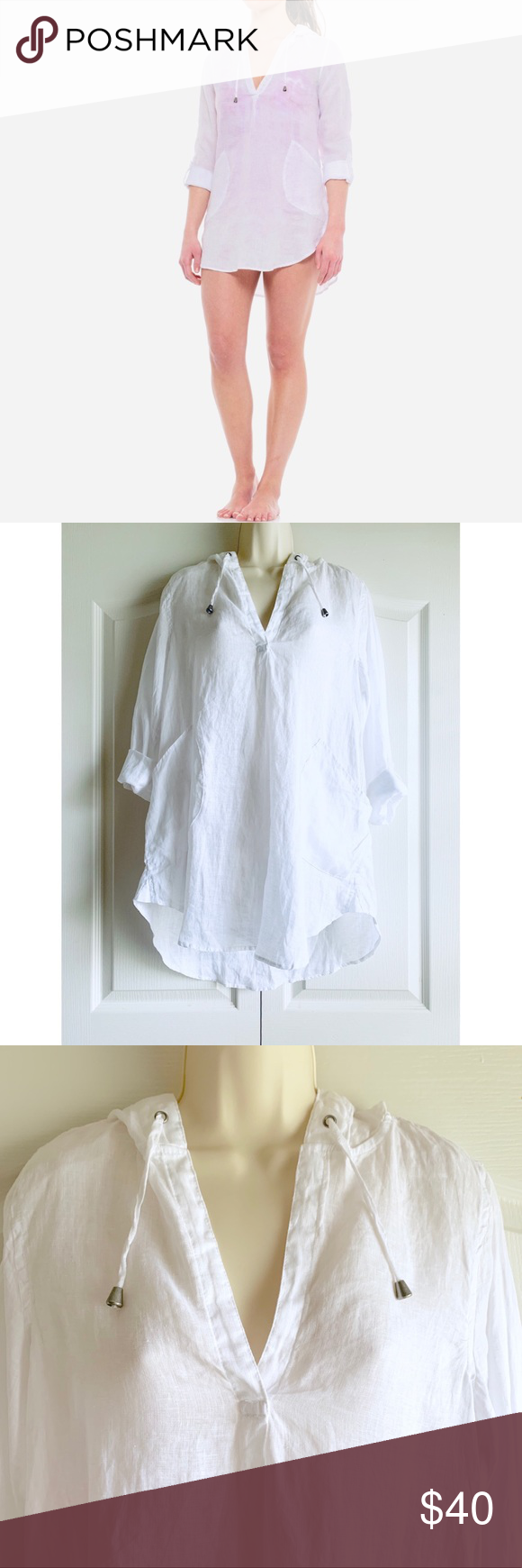 7f1bb7327691b Forcynthia Beachwear Linen Hooded Cover-Up Tunic Like new. Details: smooth,  light linen knit, attached two-panel hood with drawstring adjustments, ...