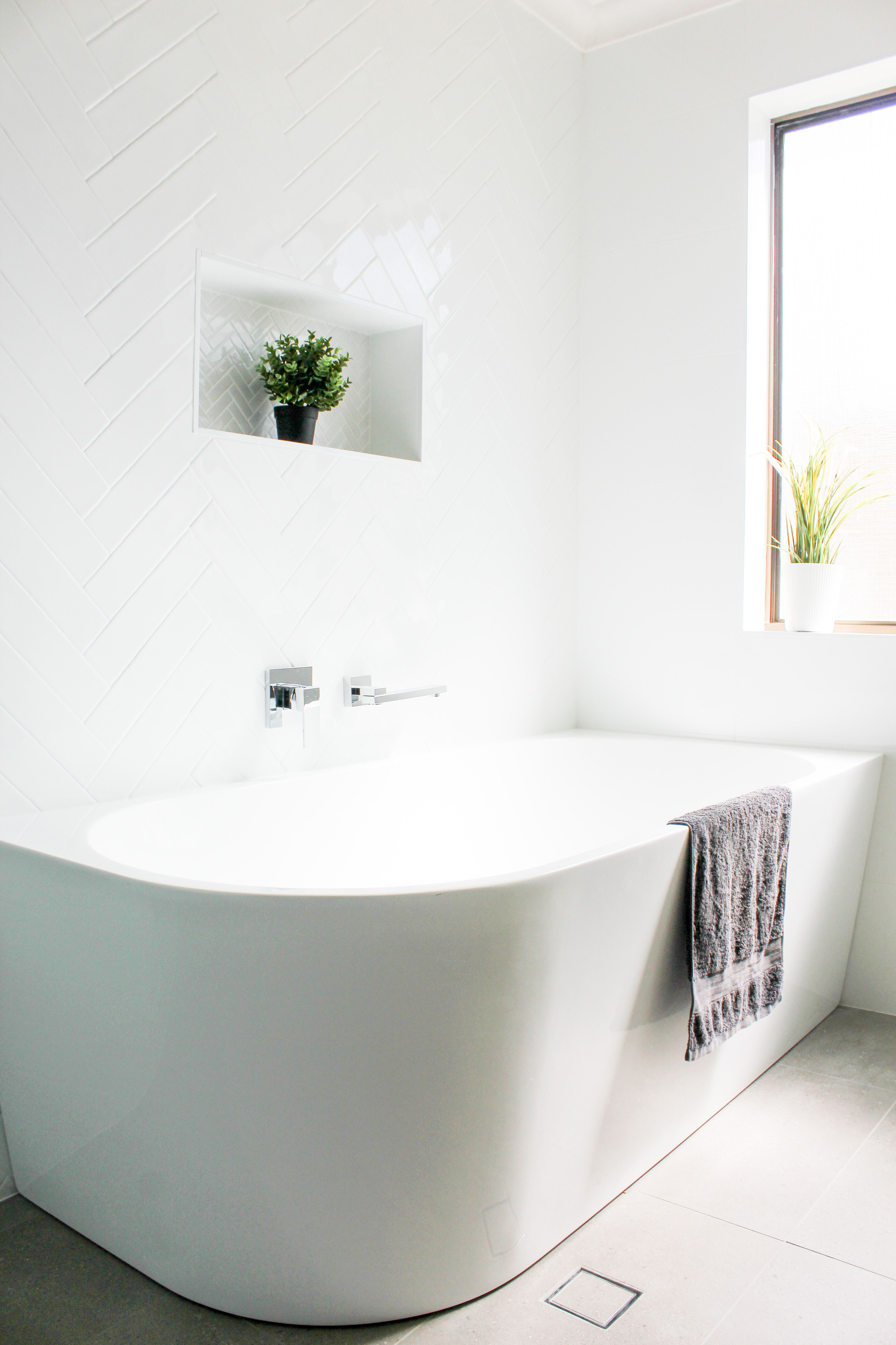 Freestanding Bath Subway Tiles Herrinbone Tiles Back To Wall Freestanding Bath Shower Niche Ful In 2020 Back To Wall Bath Bathroom Freestanding Free Standing Bath