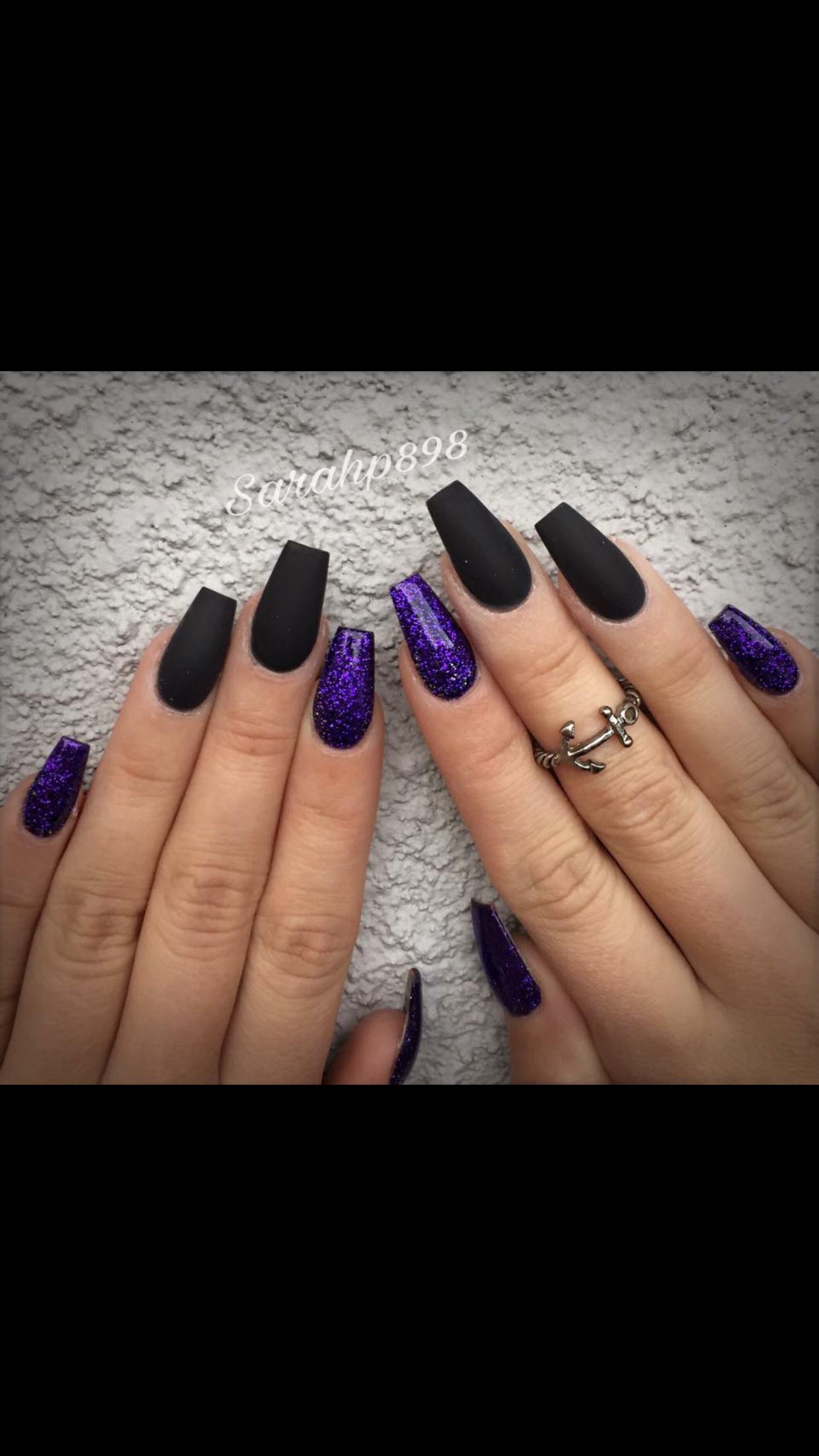 #purple #acrylic #black #sparkle #nails | Holloween nails ...