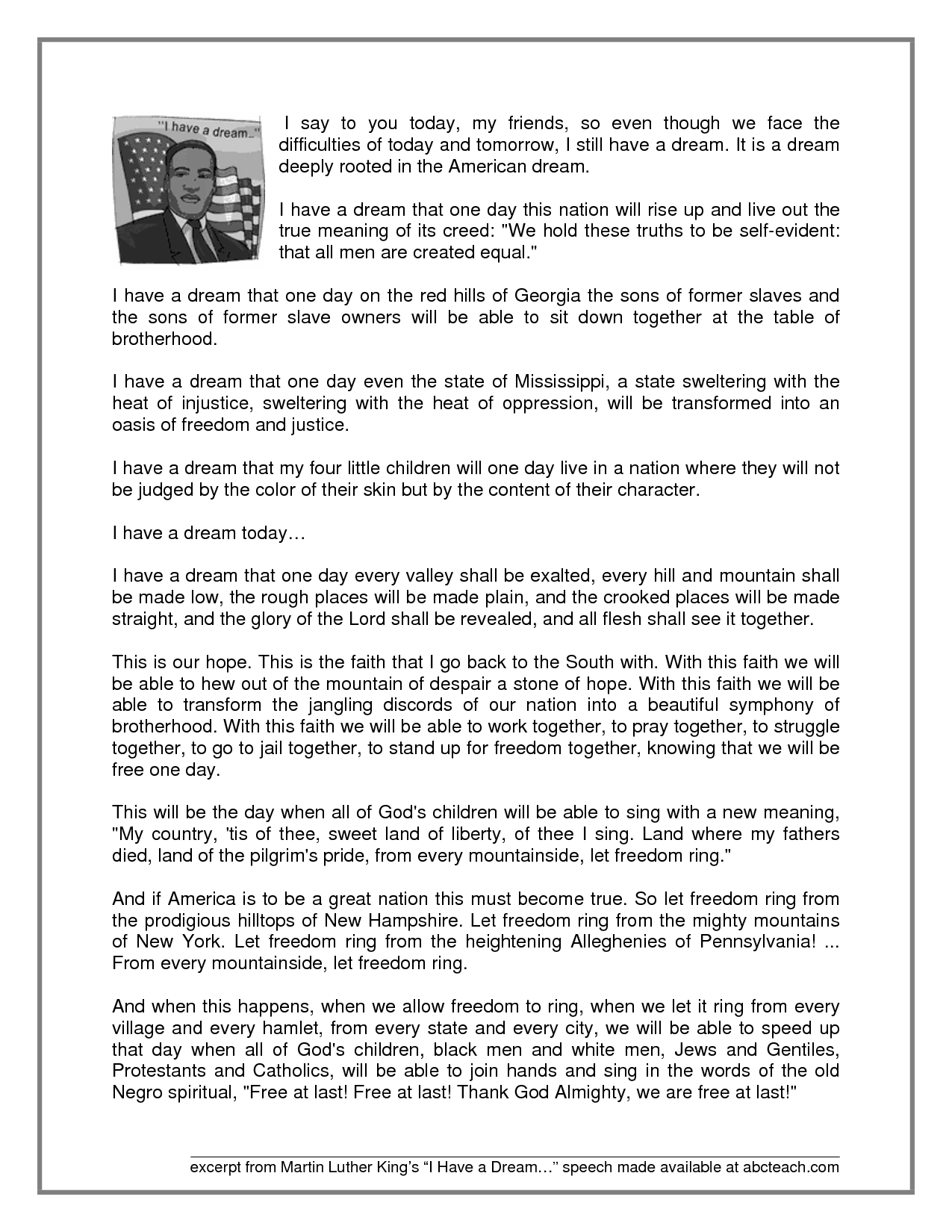 Martin Luther King Speech I Have A Dream Speech Dr Martin Luther King