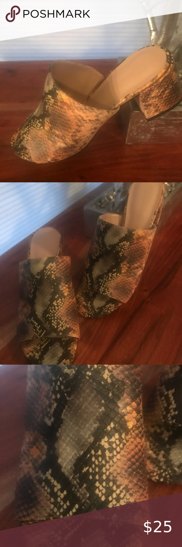 Charles & Keith Snake Print Mule Brand new! Faux snake print mule. Great neutral…