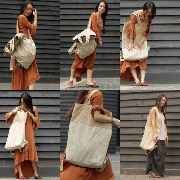 Unique design, made in a short series (only 5 units), cotton - linen multi-purpose large shoulder bag. It's unusual bag - on the one hand you can wear it as a shoulder bag, on the other hand - like a typical backpack. The bag is functional. On the back is a pocket with a zipper. The second large pocket also zipped located inside the bag. The bag is fastened with snaps. Adjustable straps. The bag was created in a short series as a supplement to loose, linen and cotton shirts or dresses…