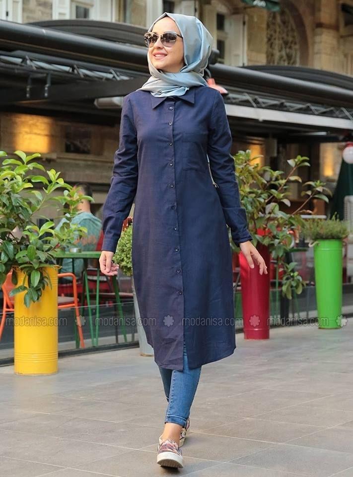 nouvelle qualité remise spéciale grande remise de 2019 modanisa tunique bleue | muslim fashion in 2019 | Denim ...