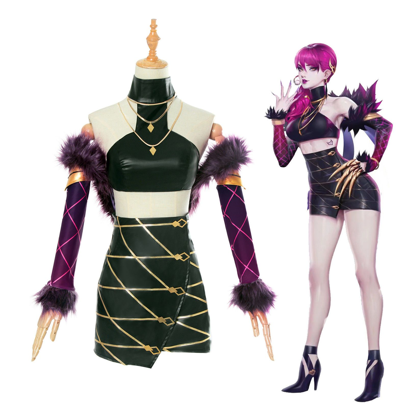 Game LOL League of Legends KDA Kaisa Cosplay Outfit Leather Punk Uniform Costume