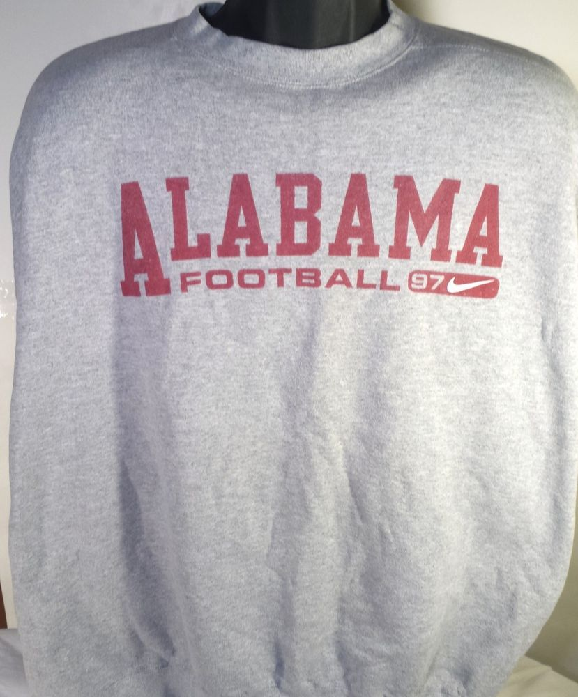 Vintage Alabama Crimson Tide Football Nike Mens 2XL Gray Crewneck ...