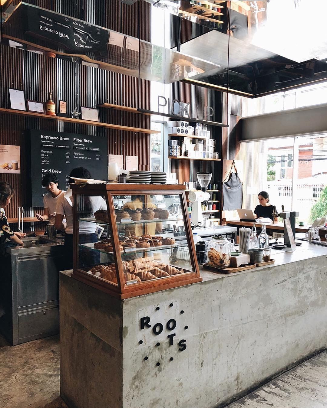A Lovely Shot Of Roots Coffee Shop Cr Jiranarong2 Coffee Shop Interior Design Small Coffee Shop Cozy Coffee Shop