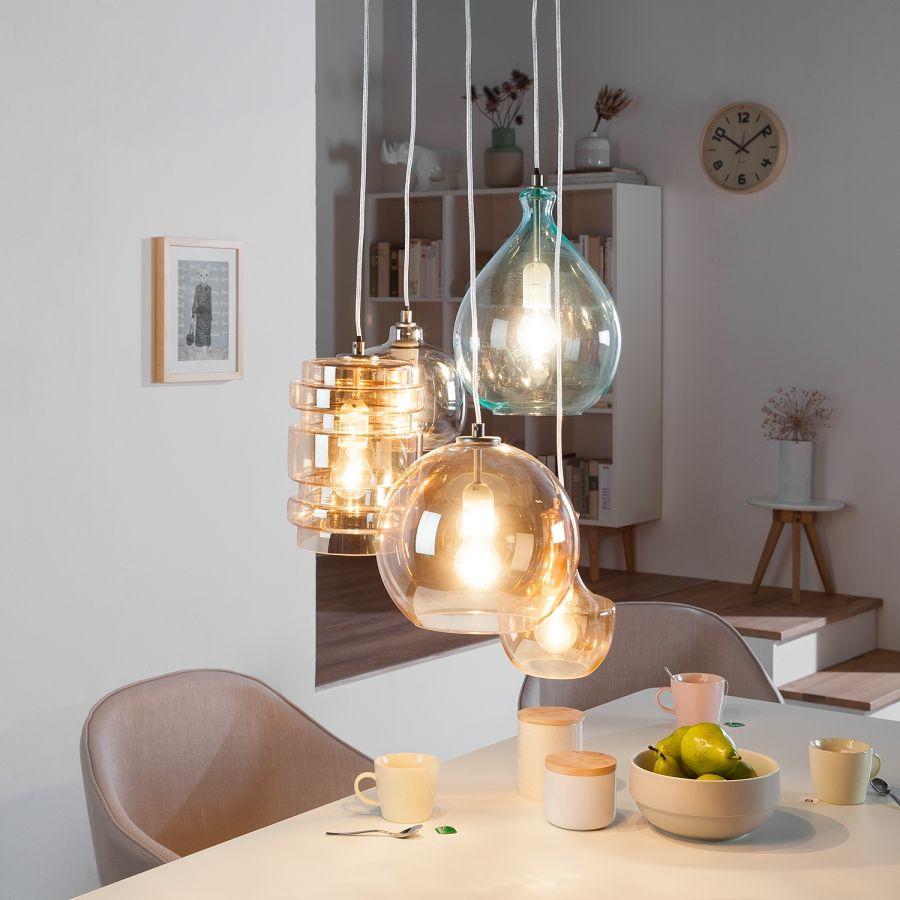 Pendelleuchte Brooklyn II - Metall / Glas - 6-flammig  Glaslampen
