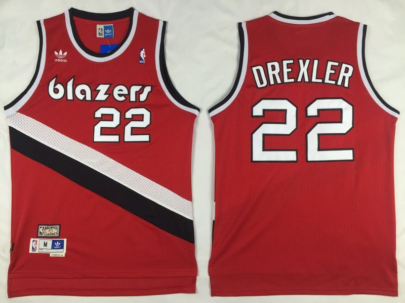 40a6d9ecd74 australia portland trail blazers 22 drexler red throwback men 2017 new logo  nba adidas jersey c46b1