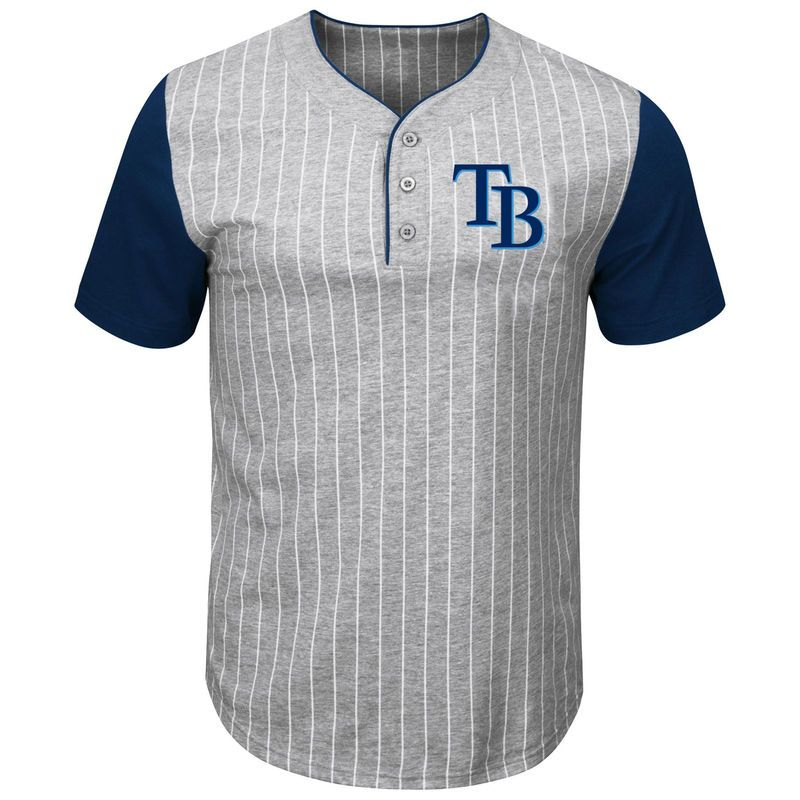 90b992664 Tampa Bay Rays Majestic Big & Tall Life or Death Pinstripe Henley T-Shirt -  Gray/Navy