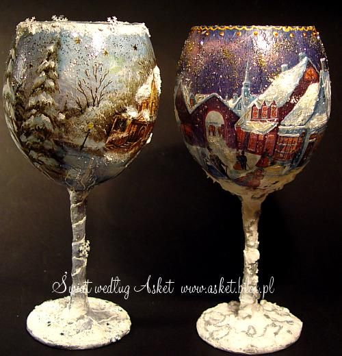 #Hand #Painted - Winter scene glasses Muhteşem Noel Fenerler  http://www.mycraftkingdom.com