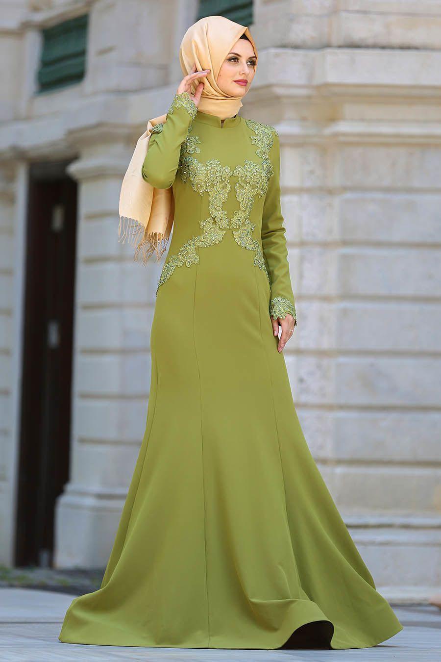 Haki Yesili Tesettur Dantelli Abiye Modelleri The Dress Aksamustu Giysileri Elbise
