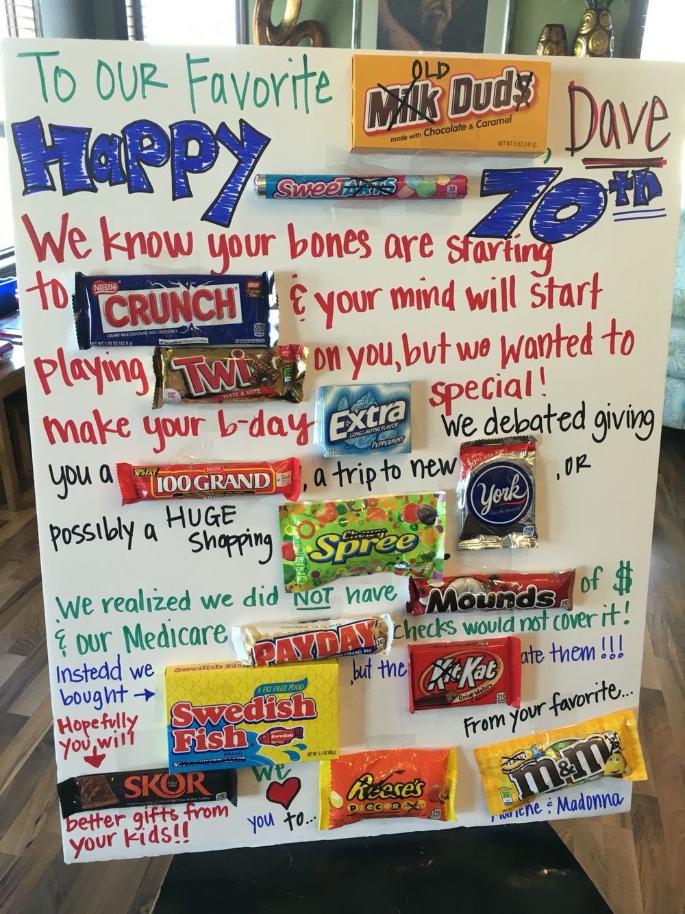 70th Birthday Candy poster Pinteres