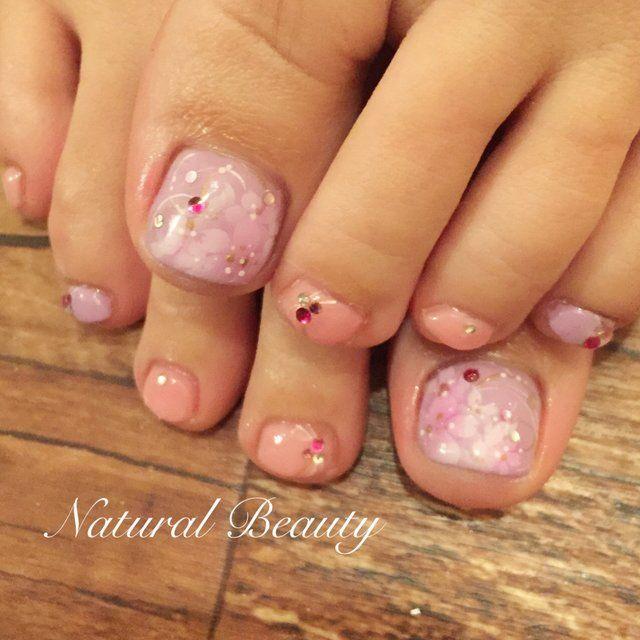桜フットネイル♡ 春 デート フット フラワー ショート ピンク