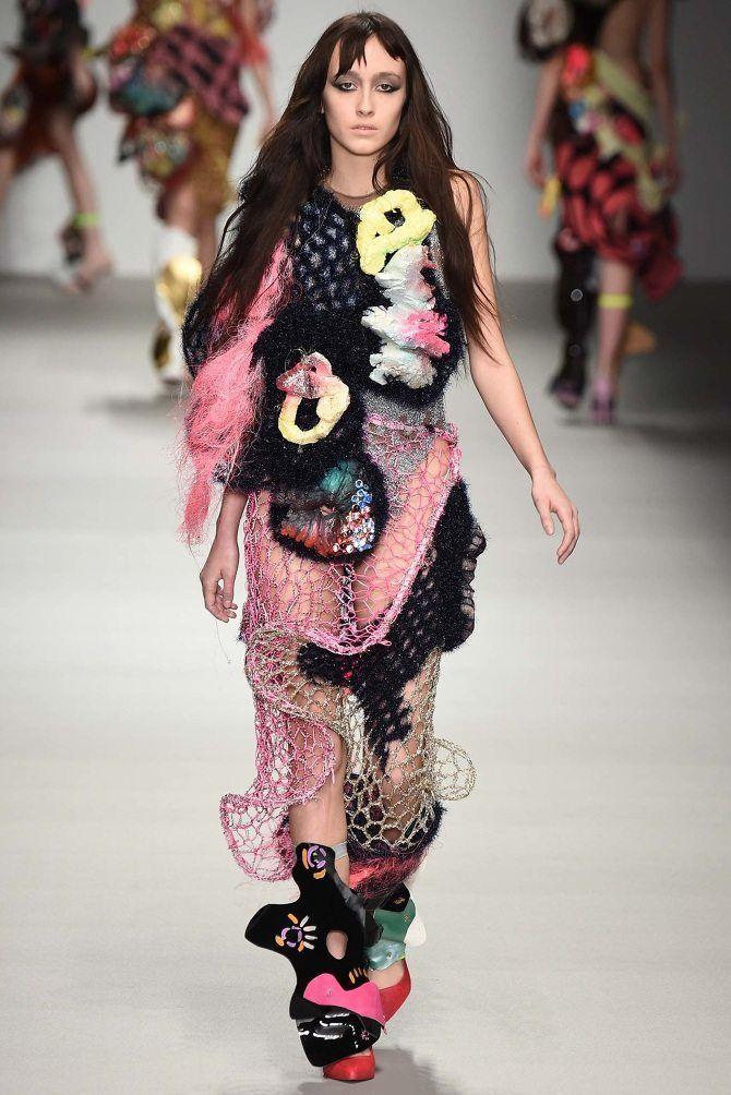 Matty Bovan's Eclectic Sculptural Layered Crochet as Wearable Art #wearableart