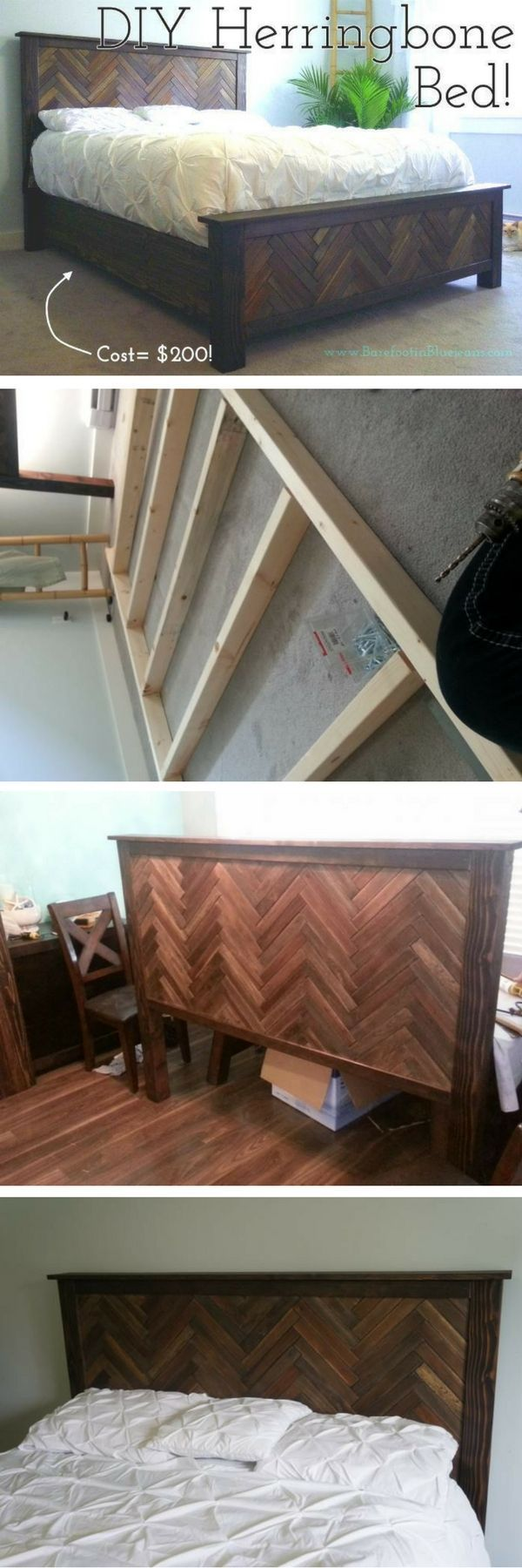 Fine woodworking furniture herringbone bed frames and fine