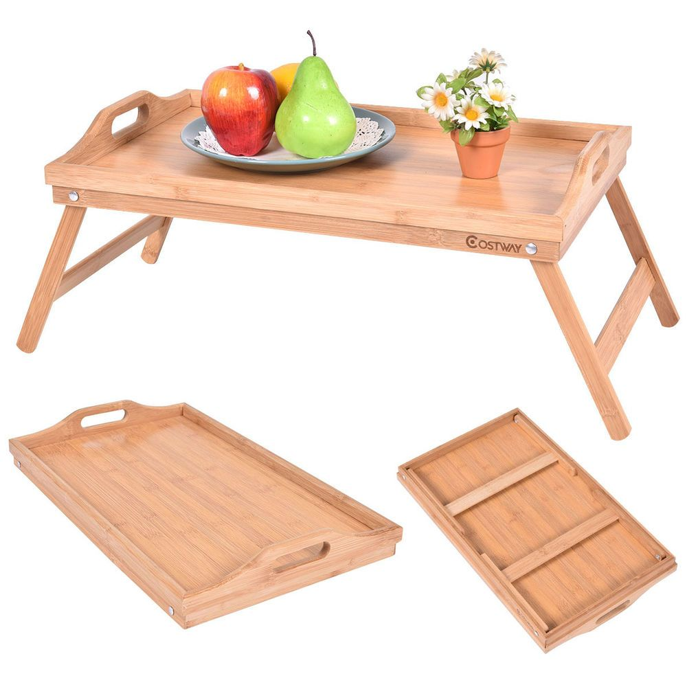 Portable Bamboo Breakfast Bed Tray Serving Laptop Table Folding Leg W Handle Unbranded With Images Bed Tray Breakfast Tray Hospital Table