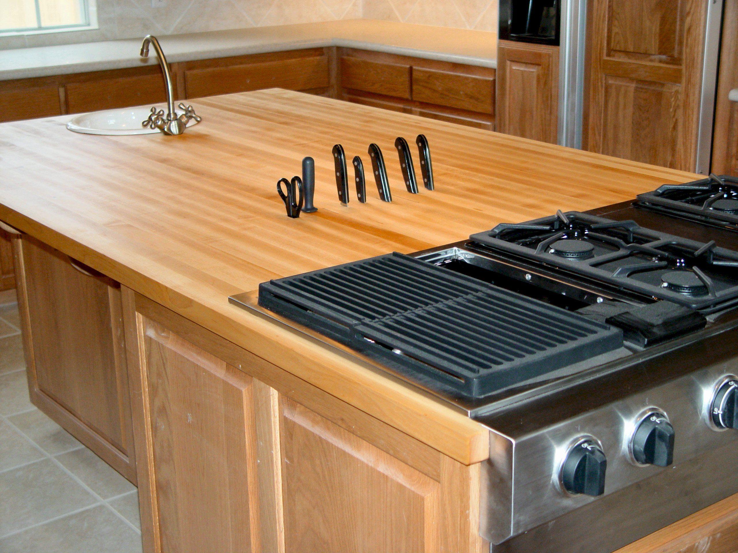 Custom solid wood island top - edge grain Hard Maple with ...