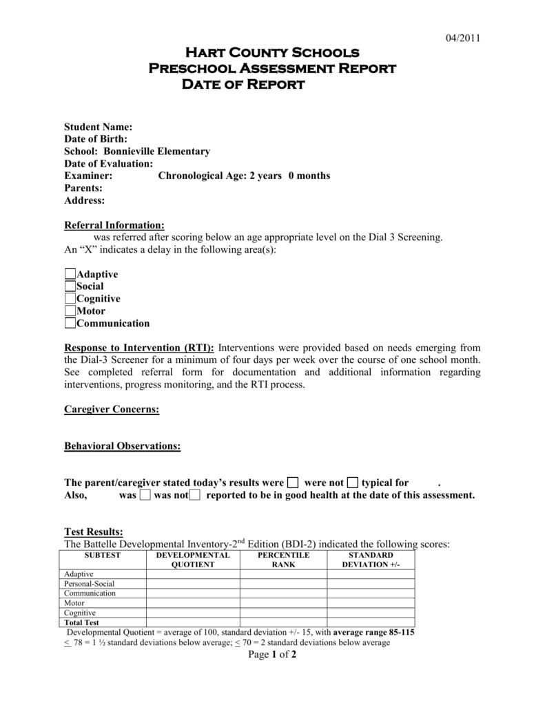 The Outstanding Preschool Evaluation Report Template For Intervention Report Template Images Below Is Section Report Template Report Card Template Evaluation