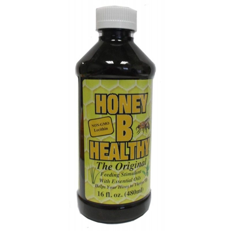 HoneyBHealthy Pint $22.60:  a honeybee feeding stimulant composed of lemongrass + spearmint oil concentrate developed in 1995 by a commercial beekeeper, helps promote healthy vigorous hives when used as a feeding stimulant in late winter, early spring, and during dearths of nectar. Add to feeding mix to help build up packages, nucs + swarms. Many large commercial beekeepers use it to fortify colony health and build resistance to the problems prevalent in today's apiaries. Easy to administer.
