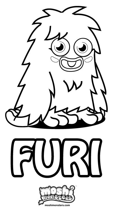 Colouring Moshi Monsters Furi