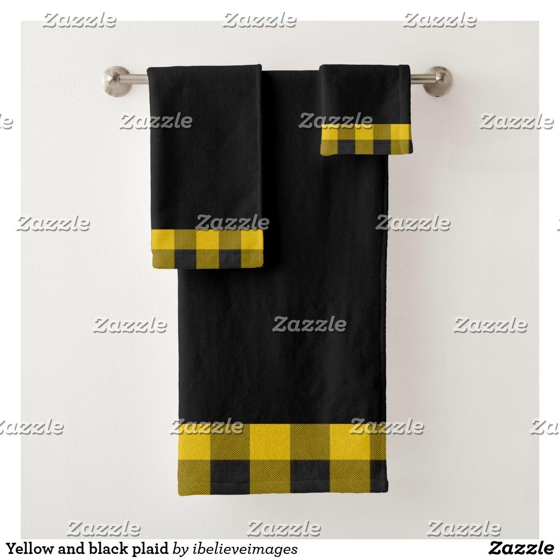 Yellow And Black Plaid Bath Towel Set Bath Towels Towel Set