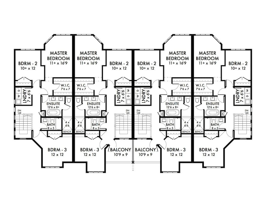 Fourplex plans fourplex multifamily stock home plan for Fourplex plans