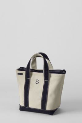 Small Zip Top Canvas Tote Shopper Lands End