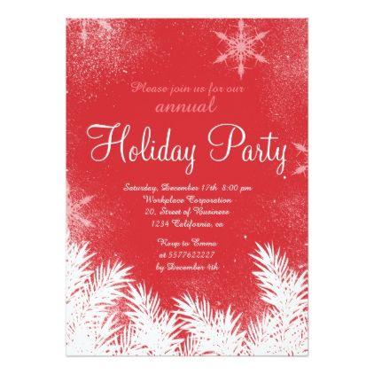 Elegant Red Snowflake Winter Corporate Holiday Invitation Zazzle