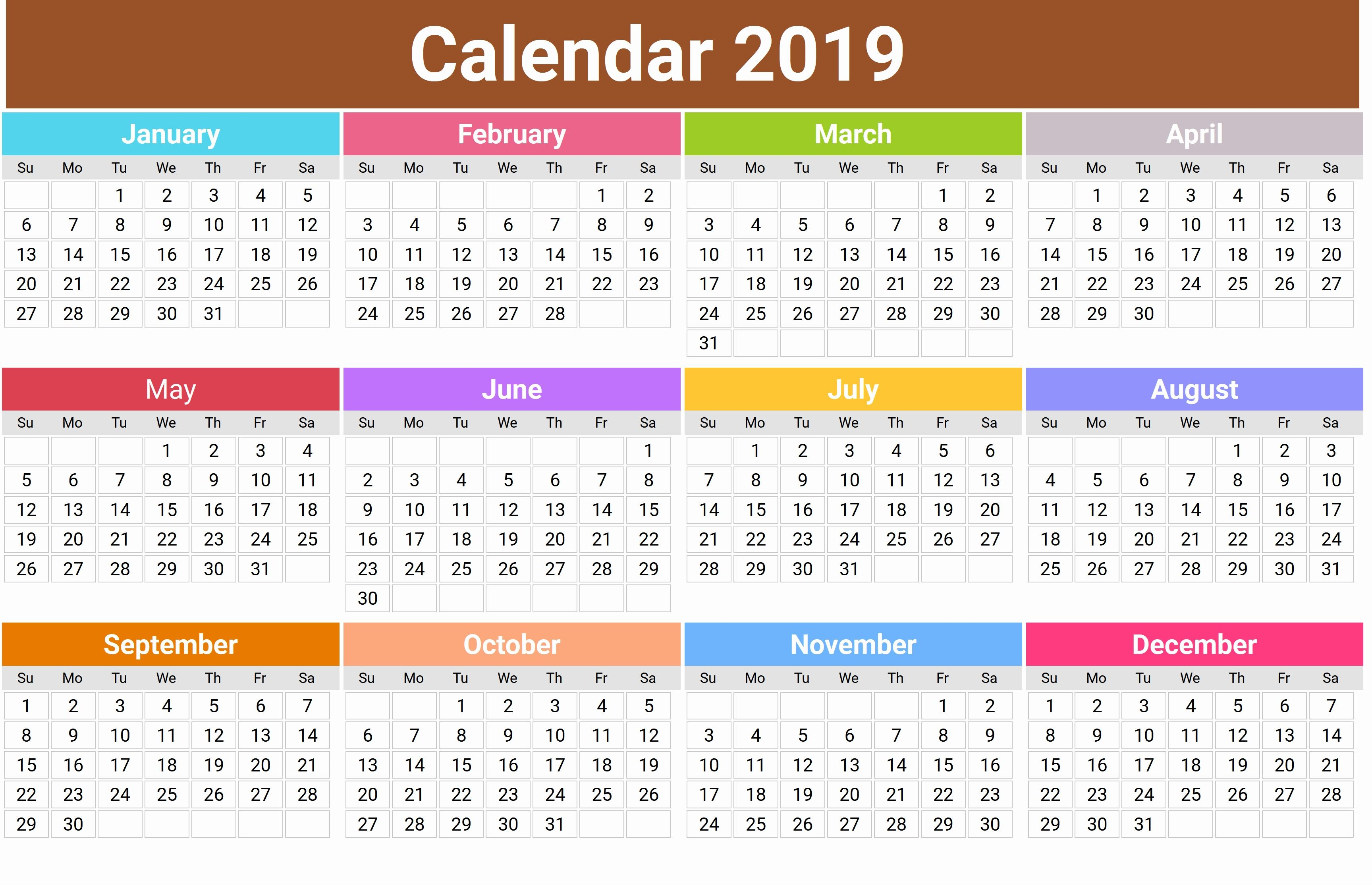 Monthly 2019 Holidays Calendar Templates Printable Calendar