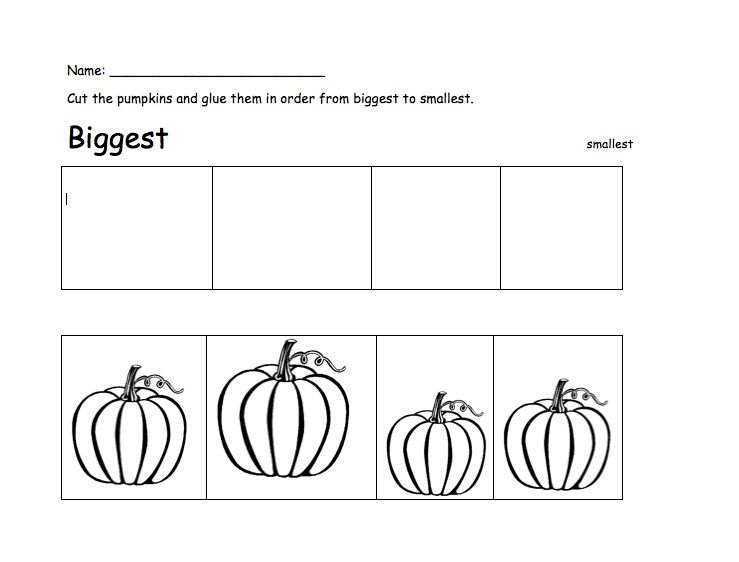 Sorting Pumpkins Worksheet Jpg 739 562 Pixels Pumpkin Classroom Activities Halloween Math Activities Preschool Rules