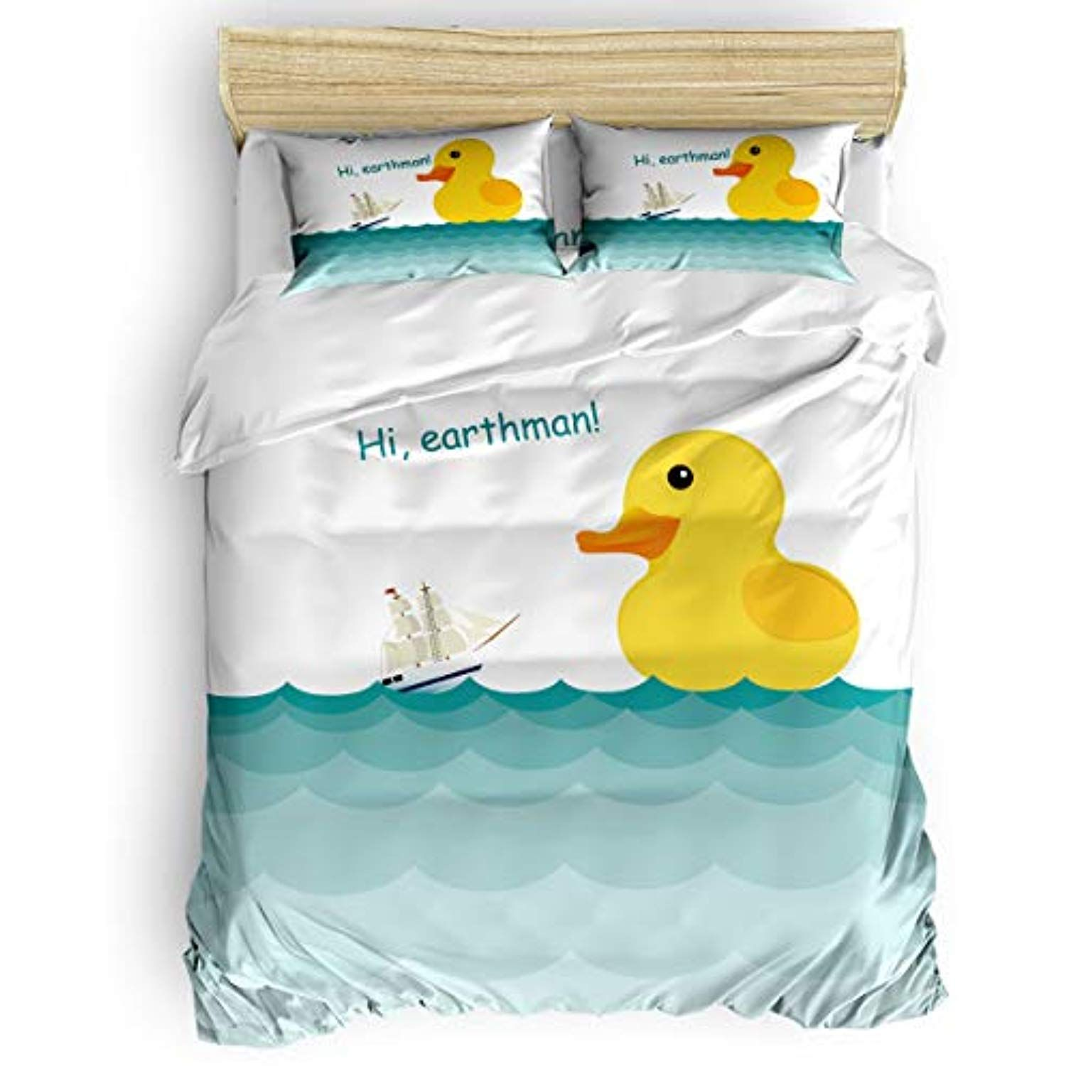 Cartoon Lovely Yellow Duck 4pcs Bedding Sets Queen Size Duvet Cover Soft Stylish Home Decor With Zipper And Cor Trendy Home Stylish Home Decor Work Space Decor