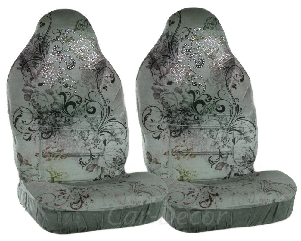 Girly Rhinestone Crystal Swirly Flower Car Seat Covers