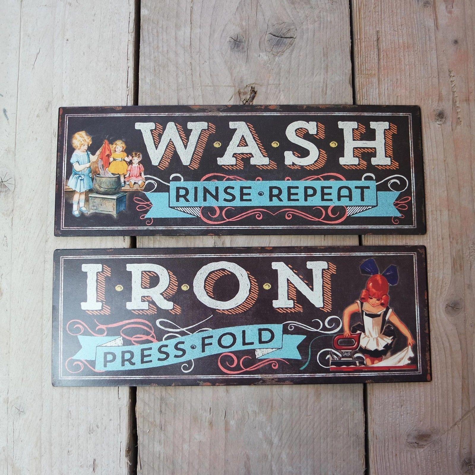 Tin Laundry Sign Shabby Vintage Retro Metal Plaque Laundry Wash Iron Black Tin Door