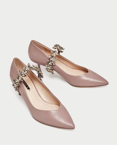 Zapato Mujer Piel Joya Pulsera Tacón Medio Zapatos wqwgZH
