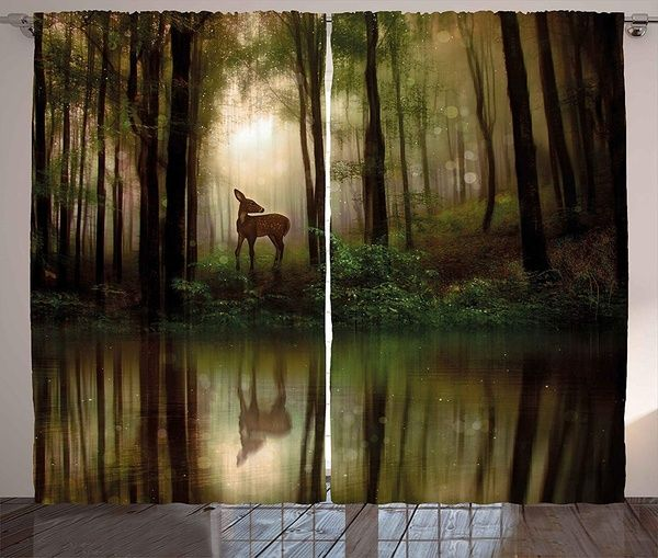 Nature Curtains, Baby Deer In The Forest With Reflection