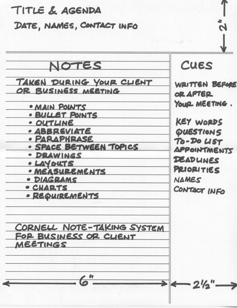 How To Use The Cornell Note Taking System Effectively For Business Or  Client Meetings  Meeting Note Taking Template
