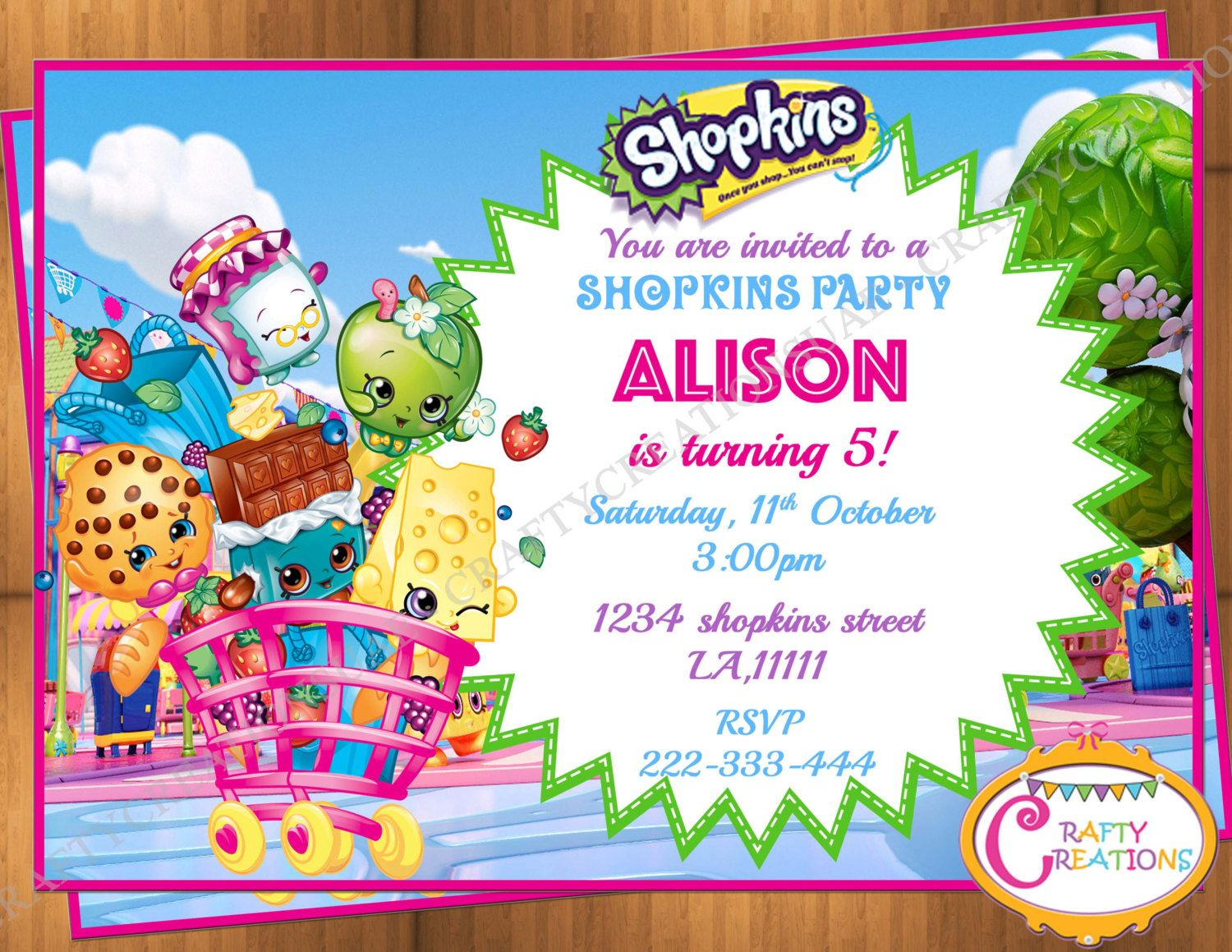 Shopkins Shoppies Birthday Invitation Shopkins Birthday Invite - Blank shopkins birthday invitations