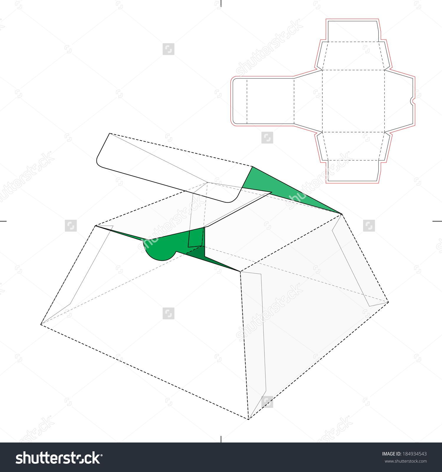 Cake Box With Die Cut Pattern Stock Vector Illustration 184934543