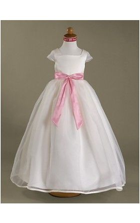 Ball Gown Square Floor-length Satin Organza Flower Girl Dress